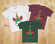 Personalised reindeer unicorn face Christmas face name tShirt T Shirt Top girls