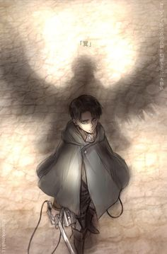 Levi and his wings of freedom. Nothing but a shadow of an unobtainable achievement for him.