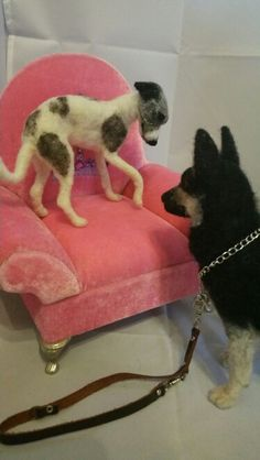 Needle felted Whippet and gsd by #ChicktinCreations