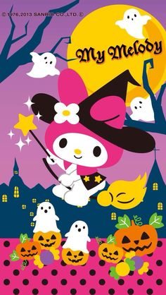 Trendy Wall Paper Cartoon Kawaii My Melody Ideas Sanrio Wallpaper, My Melody Wallpaper, Hello Kitty Wallpaper, Kawaii Wallpaper, Iphone Wallpaper, Hello Kitty Halloween, Kawaii Halloween, Happy Halloween, Scary Halloween