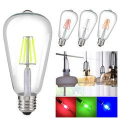 tro 8 W Coloré LED Filament Edison Ampoules V Bombilla lampe Bouchon Àre Ambiante Lampe Dé Edison Lighting, Edison Bulbs, Led, Screw Caps, Ball Lights, Retro, Colorful Decor, Water Bottle, Ebay