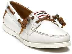 $207 HUNTER Boat Shoes Sz 7.5  White Leather Boat Shoes *EXCELLENT* Size 7.5 #Hunter #BoatShoes #boatingcasualtravelshoesworkcampusschool