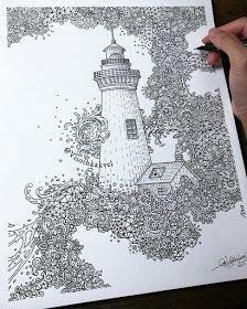 Lighthouse by Visoth Kakvei Dream Catcher Patterns, Dream Catcher Mandala, Pattern Design Drawing, Detailed Drawings, Large Art, Mandala Design, Designs To Draw, Tangled, Creative Art