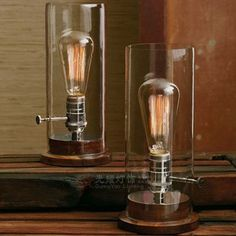 Promoção Edison Vintage tampa de vidro / Abajur Madeira Sólida base de cobre soquete Tabela Lâmpadas Nostálgico Luzes Escurecimento Iluminaç...