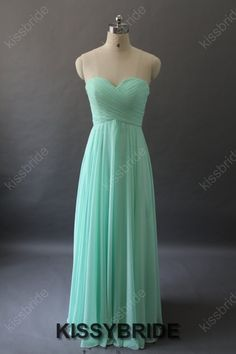 Mint bridesmaid dress  long green bridesmaid dress / by KissyBride, $99.00.... Floor length possibility