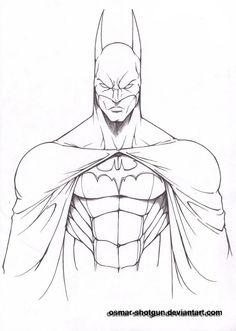 Batman Drawings   batman line art by osmar shotgun fan art traditional art drawings ... #ad
