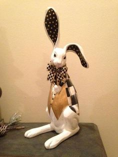 White Rabbit Figurine Hand Painted Whimsical Black and White