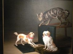 Cat Playing with Two Dogs | oil painting, 1652 | Paulus Potter