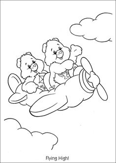 care bears coloring pages to print | Care Bears flying high coloring page