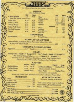 No way is this on Pinterest! This menu was a huge part of my upbringing....I saw it often, not that I needed to...half roast beef and a cup of gumbo...that's my order! ;)