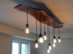 Dining room light fixtures made of natural wood