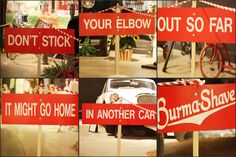 sample of a burma-shave multi-sign message