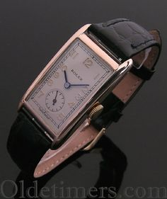 A 9ct gold rectangular vintage Rolex watch, 1933