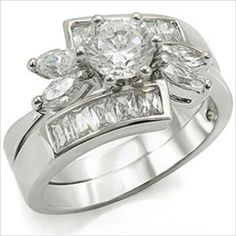 1.5 ct Brilliant cut cz Bridal Wedding Ring Set and Marquise accented Rhodium-plated