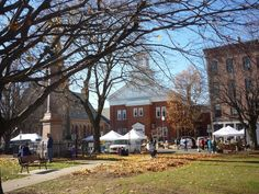 Town common, old buildings, farmers market in downtown Greenfield MA: http://visitingnewengland.com/downtown-greenfield-ma-new-england.html #greenfieldma