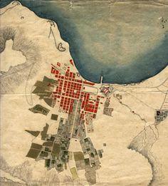 Die rooi blokkies stel dorps erwe voor en die ster aan die linkerkant, naby die kus is die Kasteel. Vintage Maps, Antique Maps, Cape Town South Africa, Africa Map, Old Maps, City Maps, Most Beautiful Cities, Historical Maps, African History