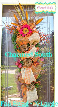 Burlap and Deco Mesh Fall X-Large swag, pine swag, tear drop swag, Charmed South wreath on Etsy, $165.00