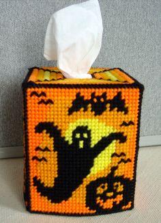 Happy Haunting Halloween Silhouette Tissue Box