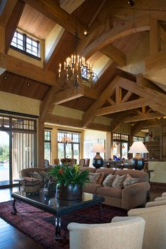 Great Room-love the high windows Shed Homes, Log Homes, Barn Homes, Log Home Living, Cottage Living, Industrial Home Design, Industrial House, Montana, Log Home Designs