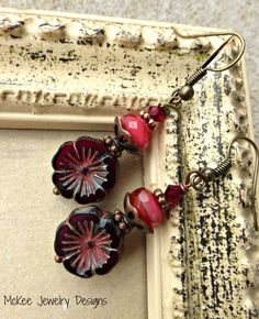 Roses. Czech glass flowers and copper metal earrings.