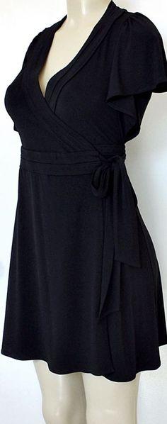 EUC BCBG Generation Dress Black Mini Wrap Dress Short Sleeve Ruffled XS S 02  #BCBGeneration #WrapDress #Any