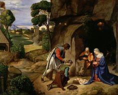 """Giorgione, pseudonimo di Giorgio Gasparini o Zorzi da Castelfranco (Castelfranco Veneto, 1477 circa – Venezia, 1510), """"Natività Allendale"""", 1505 circa.  cm. 89 x 111,5   National Gallery di Washington"""