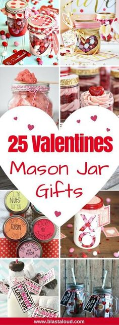 25 Easy DIY Valentines mason jar gift ideas to make this year. Instead of buying something at the store, make these mason jar gifts for Valentines day yourself as a more personalized gift. Valentines Day Food, Valentine Desserts, Valentine Gifts, Valentine Ideas, Valentines Recipes, Valentines Baking, Valentine Stuff, Valentine Wreath, Diy Valentine's Mason Jar