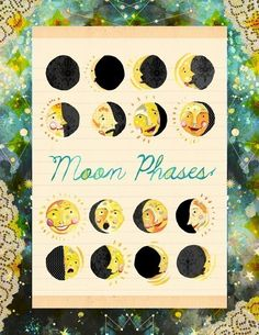 Moon Faces 8 x 10. $18.00, via Etsy.