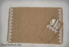 Items similar to Burlap placemat, silverware pocket for rustic wedding table decorations, - SET OF 10 on Etsy Wedding Table, Rustic Wedding, Sewing Crafts, Sewing Projects, Burlap Projects, Burlap Lace, Hessian, Deco Originale, Burlap Table Runners