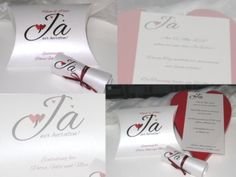 """Hochzeitseinladung """"Herzle"""" in rot Fancy Wedding Invitations, Card Wedding, Red, Guest Gifts, Invitation Cards"""