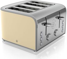SWAN Retro ST17010CN 4-Slice Toaster - Cream, Cream: Top features: - Toast to perfection with variable browning… #Electrical #HomeAppliances