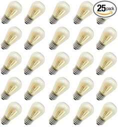 Rolay 11 Watt Incandescent Light Bulbs with Base, Pack of 25 - Wattage: 40 Lumens Voltage: Base Type: Package Includes: 25 * incandescent bulbs Tips: If bulb damaged or broken, please feel free to contact us to get new replacement or partial refund. Outdoor Light Bulbs, Outdoor Lighting, Patio String Lights, Incandescent Light Bulb, Amber Glass, Christmas Lights, Base, Top, Amazon