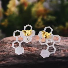 Buy Lotus Fun Real 925 Sterling Silver Natural Creative Handmade Fine Jewelry Honeycomb Home Guard Dangle Earrings for Women Brincos Bee Jewelry, Jewelry Sets, Jewellery, Bee Spirit Animal, Lotus, Sterling Silver Earrings Studs, Handmade Silver, Handmade Jewelry, Women's Earrings