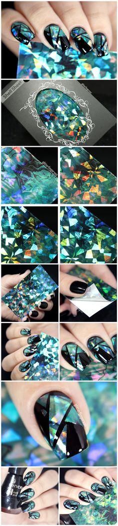 $1.99 1pc Shimmer Nail Art Shell Paper Holographic Paper Glitter Paper Acrylic Decorations - BornPrettyStore.com