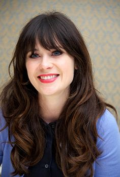 Zooey Deschanel---bangs + long hair. My favorite- i think when i cut my hair ill lean towards this kind of look