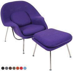 MLF® Eero Saarinen Womb Lounge Chair and Ottman, Premium Cashmere (Purple) (8 Colors)