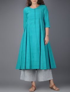 Buy Blue Kalidar Cotton Kurta with Tanka Work Women Kurtas Color Stories pants tunics and dupattas interesting details Online at Jaypore.com
