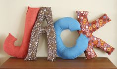 Letter Pillows: great gift idea & want to do for the boys.