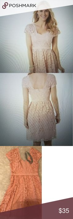 Pretty Spring Floral Lace Dress Sheer Lace Cap Sleeves-Sweetheart Neckline-A-Line Skirt-Very Light Mauve Color Covington Dresses