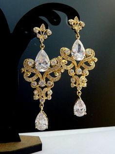 Wedding Bridal Earrings  Yellow Gold Plated by JCBridalJewelry, $69.95