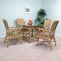 Morada Premium Rattan 5 Piece Dining Furniture Set (4-Armchairs and Table W/Glass Top)