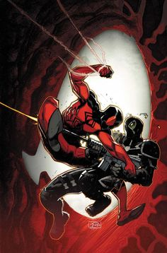 Scarlet Spider vs Agent Venom! Two of my favorite side-Spider-man characters. Ben Reilly (Peter Parker's clone) and Flash Thompson (Peter Parker's rival/friend/old bully). Agent Venom is my favorite super-hero.