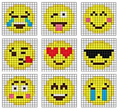 Crochet Emoji Graphgan (Repeat Crafter Me) Are you or your kids Emoji-obssessed? It's hard not to love those cute little faces and icons that give your texts and social media posts a little pizzazz! I created 9 Emoji Crochet (corner-to-cor Fuse Bead Patterns, Perler Patterns, Beading Patterns, Cross Stitch Patterns, Jewelry Patterns, Embroidery Patterns, Jewelry Ideas, Perler Bead Emoji, Diy Perler Beads