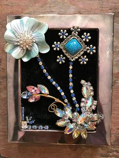 """3"""" by 5"""" miniature framed art mixed media pictures from repurposed vintage jewelry."""