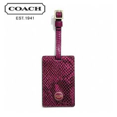 'BNWT COACH Sig Stripe Embossed Snake Luggage Tag' is going up for auction at  2pm Tue, Jan 7 with a starting bid of $1.