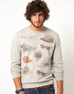 Buy ASOS Sweatshirt With Glasses And Hats Print at ASOS. Get the latest trends with ASOS now. Asos Sweatshirt, Sweater Hoodie, Urban Street Style, Mens Fleece, Well Dressed Men, Guy Style, Men's Style, Fashion Lookbook, Dress Codes