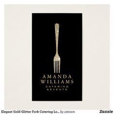 Personal chef service business card business cards business and elegant gold glitter fork catering logo black business card for chefs caterers foodies reheart Image collections