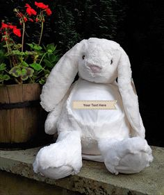 Who wouldn't love this cute hugable bunny with It's floppy ears? It can be personalised with any name or text. Christmas Competitions, Personalised Gifts, Gift Bags, Charity, Baby Gifts, I Shop, Ears, Bunny, Teddy Bear
