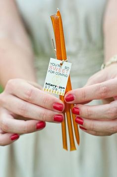 Honey sticks are cheap and the presentation is cute. Honey for my honeys!