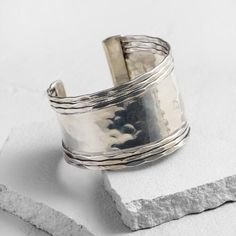 One of my favorite discoveries at WorldMarket.com: Silver Hammered  Cuff Bracelet